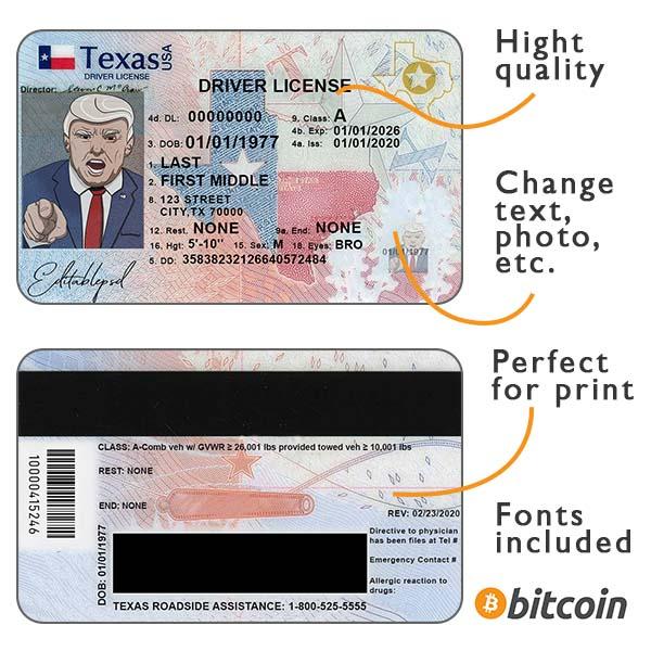 Texas driver license USA psd