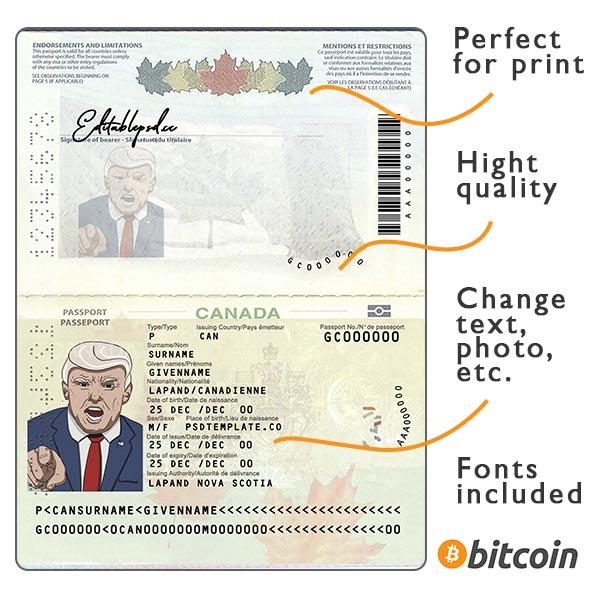 Passport Canada template